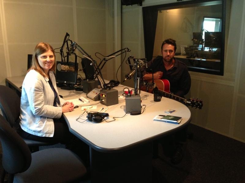 Jay Nash in studio with WRVO's Catherine Loper.