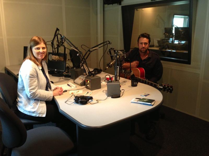 Jay Nash in studio with WRVO's Catherine Loper.