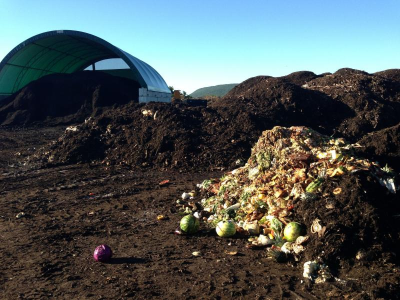 The butter gets mixed with other food waste to become compost.