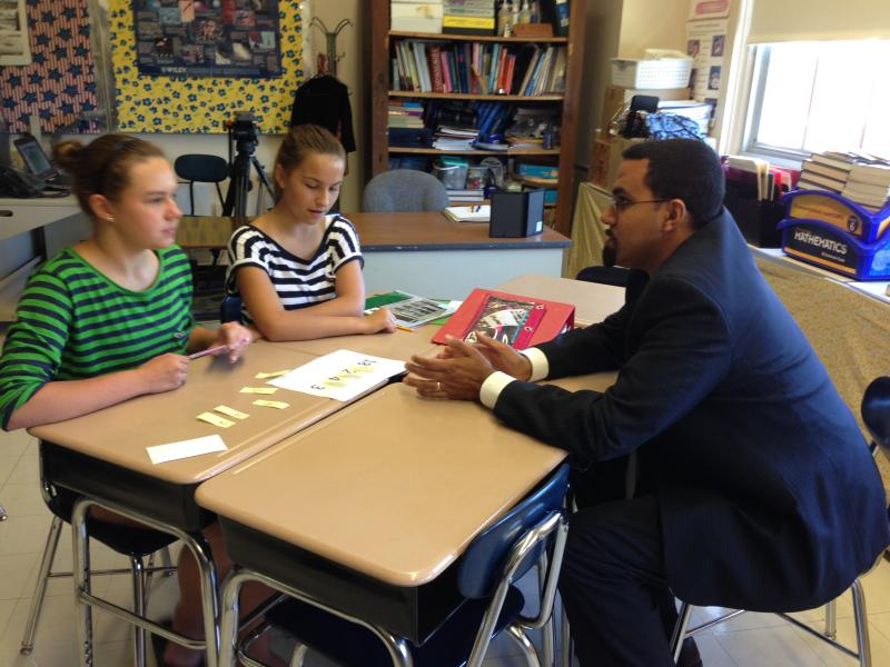 State Education Commissioner John King visits a seventh grade math class at Wellwood Middle School in the Fayetteville-Manlius School District.