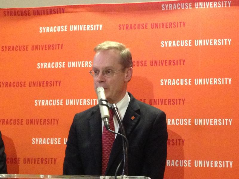 New SU Chancellor Kent Syverud speaks to the college community.