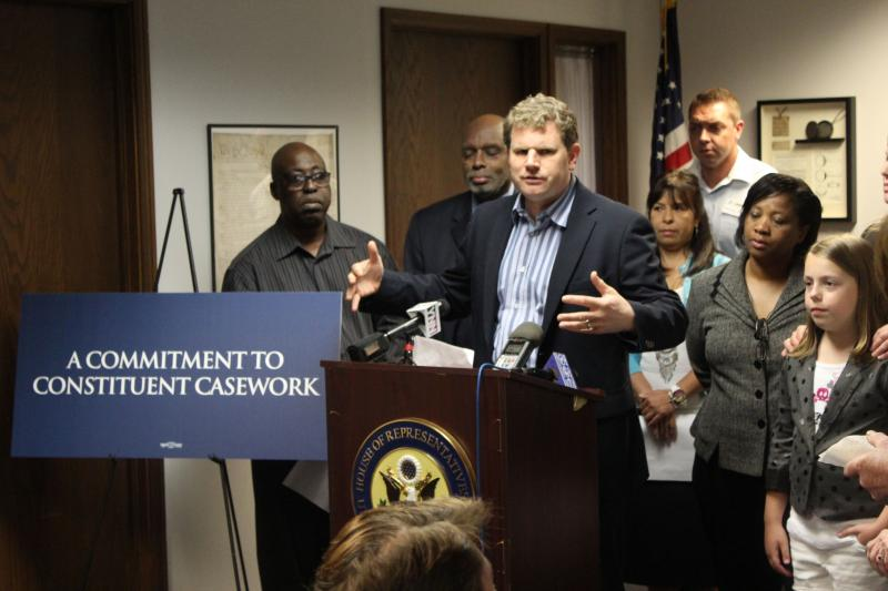 "Congressman Dan Maffei (D-NY) holds a ""Commitment to Constituent Service"" press conference at his downtown Syracuse office on Friday."
