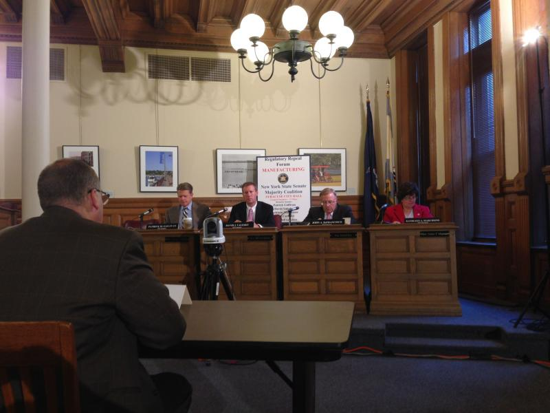 The Senate Majority Coalition public forum on regulatory reform at Syracuse City Hall.