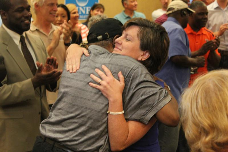 Stephanie Miner receives a hug on primary night.