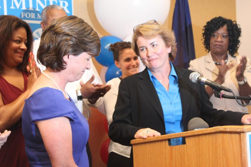 Mayor Stephanie Miner and Mary Anne Doherty.