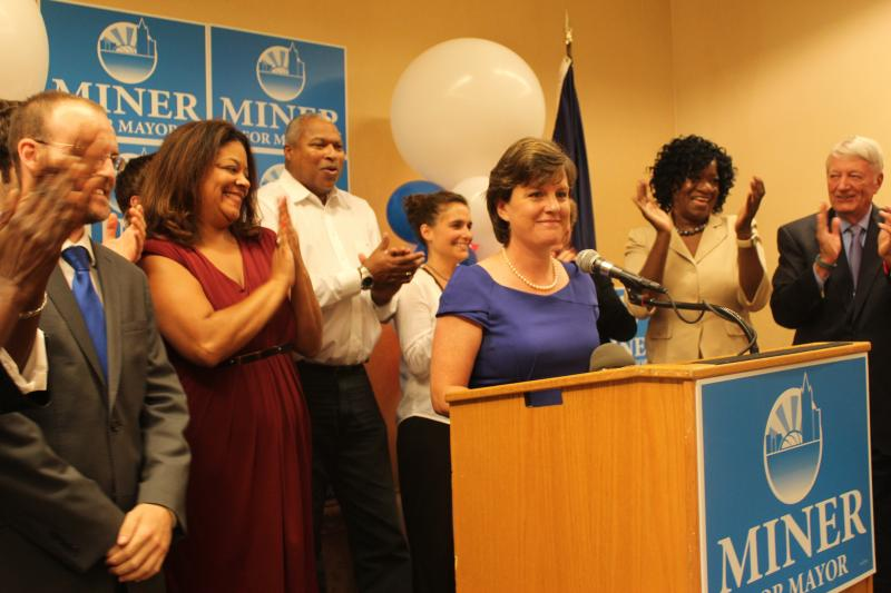 Mayor Stephanie Miner is cheered on by the crowd after her primary win.