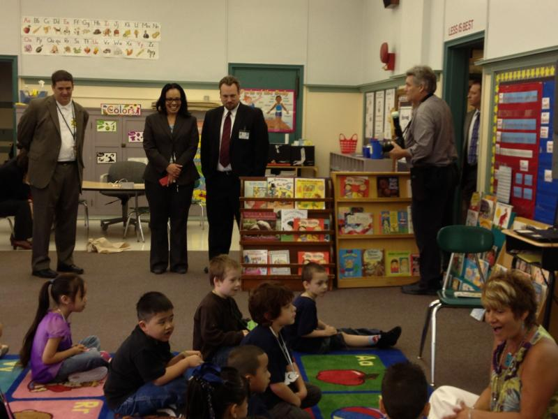 Syracuse City School District Superintendent Sharon Contreras visits a kindergarten class at Frazer School.