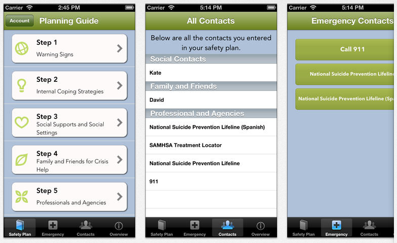 The free Safety Plan iPhone app is designed to help people cope with suicidal thoughts.