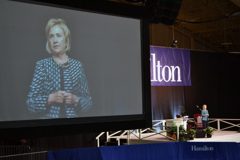 """Where else could I have come where I would feel so much at home?"" Hillary Clinton said Friday during a speech at Hamilton College."