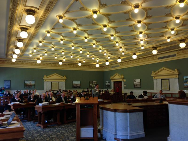 Onondaga County lawmakers discuss the county budget Tuesday. It passed by a 15-1 vote.