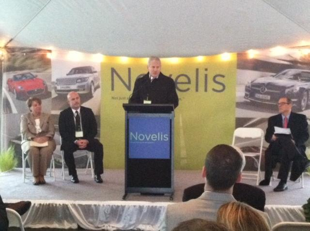 Philip Martens, president and CEO of Novelis, speaks at the Oswego plant's expansion commissioning.