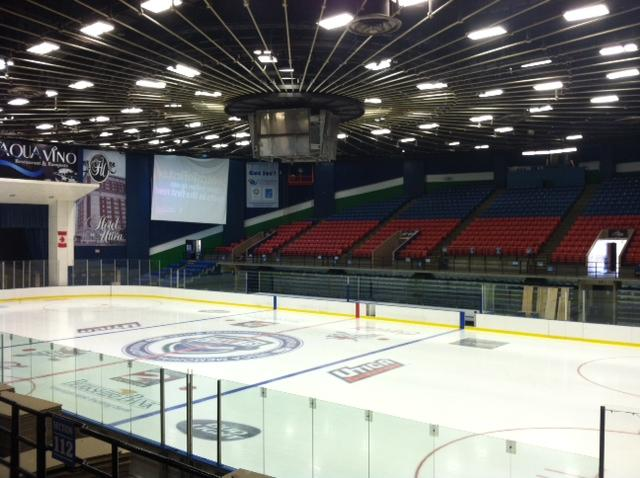 A view of the iconic suspended roof and scoreboard was unique when the Aud was first built.