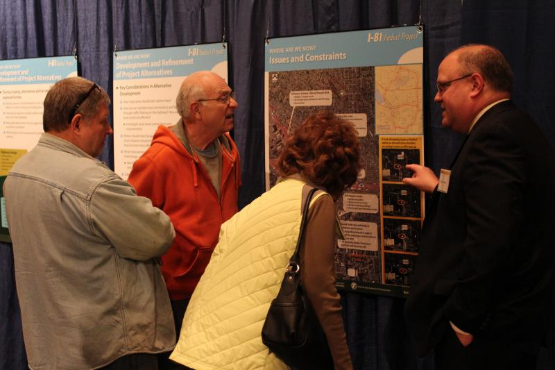 Visitors discuss possible options for I-81's future.