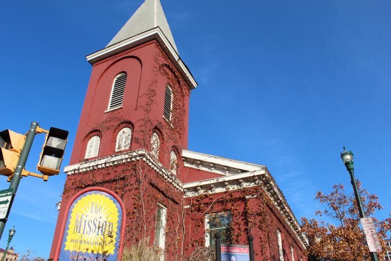 The Mission Restaurant in downtown Syracuse was built in the 1840's and used to be the Syracuse Wesleyan Methodist Church and a part of the Underground Railroad.