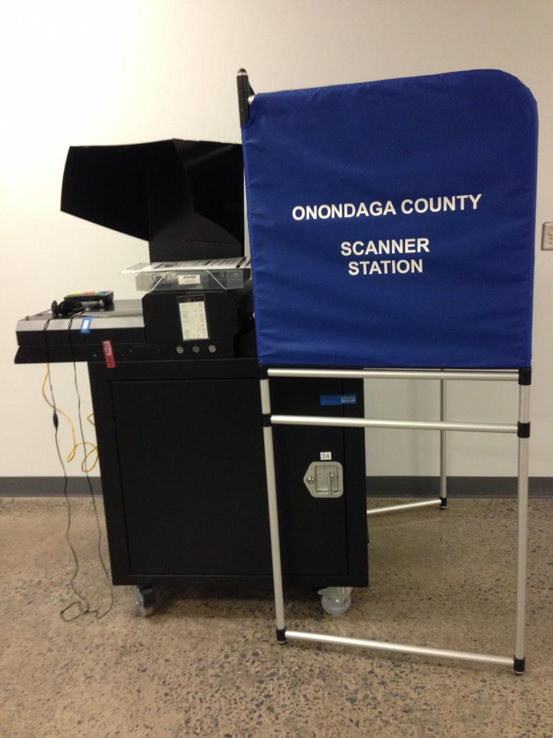 Polling machines like this one will be used throughout Onondaga County for Tuesday's elections.