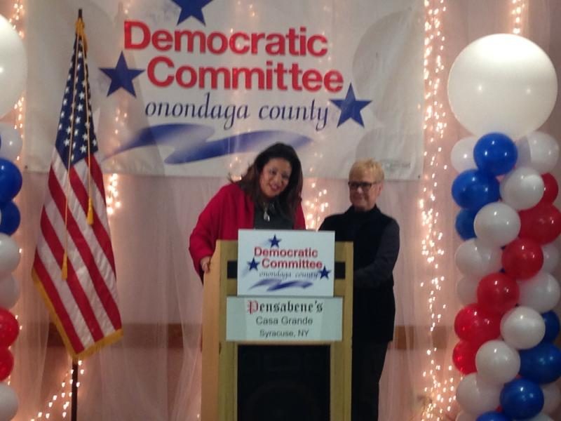 Syracuse at-large councilors, Pamela Hunter and Jean Kessner, speak at the podium.
