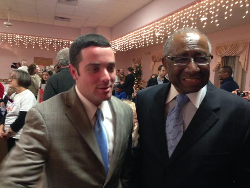 New 2nd District councilor Chad Ryan poses with Council President Van Robinson, who was re-elected with no opposition.
