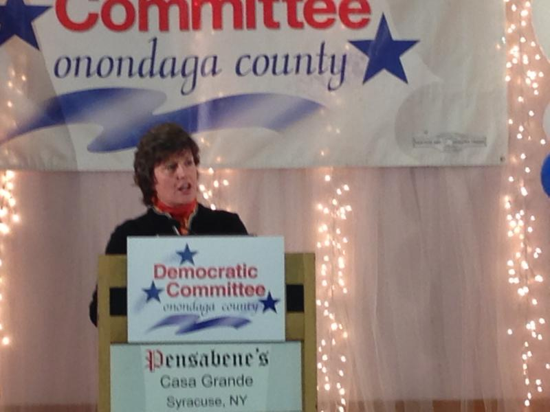 Syracuse Mayor Stephanie Miner addresses the crowd following the announcement of her re-election victory.