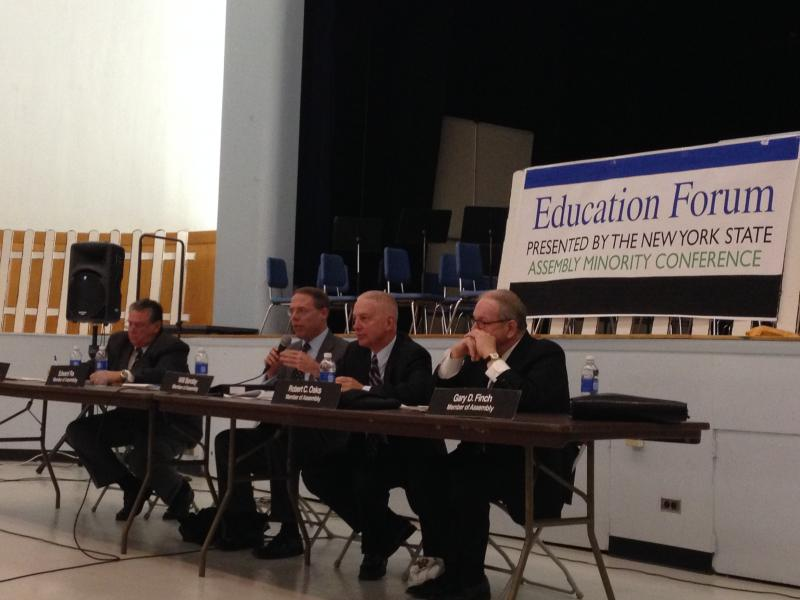 Assembly members listen to concerns posed by teachers and superintendents.