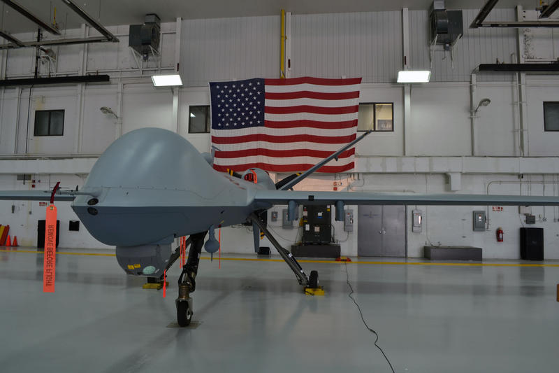 An MQ-9 Reaper drone, like this one seen in a hanger at Hancock Airfield, crashed Tuesday into Lake Ontario. The MQ-9s are operated by the 174th Attack Wing of the Air National Guard.