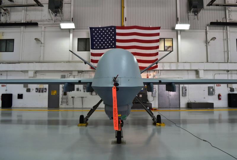 An MQ-9 Reaper drone, like this one seen in a hanger at Hancock Airfield, crashed Tuesday into Lake Ontario under command of the 174th Attack Wing of the Air National Guard.