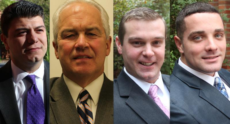 The four candidates competing for seats on Syracuse's Common Council. From left: Joe Carni, Jake Barrett, Alex Walsh and Chad Ryan.