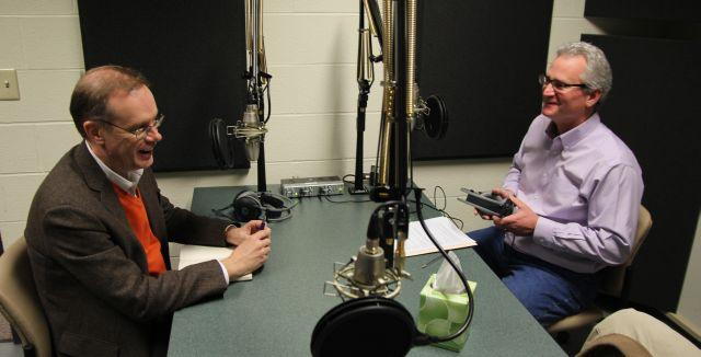 Incoming Syracuse University Chancellor Kent Syverud (at left) talks with Campbell Conversations host Grant Reeher