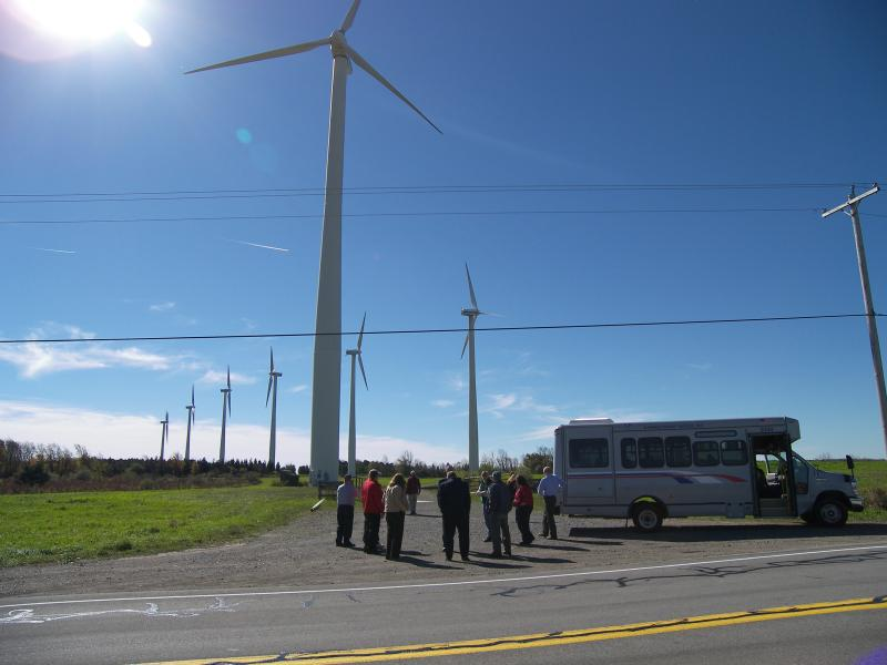 Members of Oswego County government learns about additional green energy alternatives. A small group recently traveled to Wyoming County to meet with local officials and visit two wind farms.