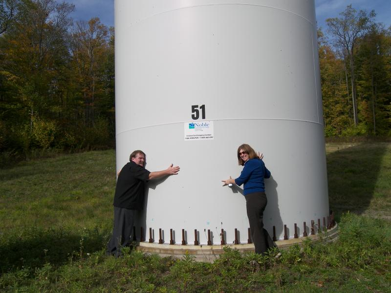 Oswego County legislators James Karasek, District 22 and Amy Tresidder, District 16 stop at a wind farm in the town of Eagle, Wyoming County to check noise and vibration levels from a turbine.