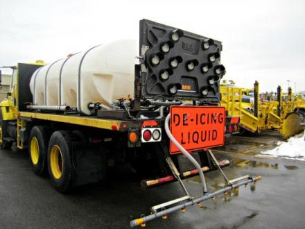 New York State Thruway Authority truck with 2,000 gallons of beet-brine mixture