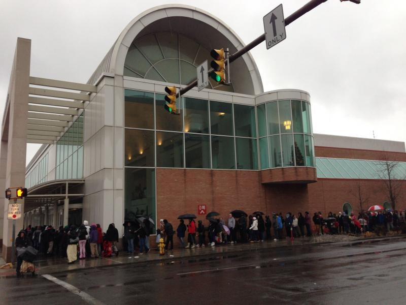 Families line up for the annual Christmas Bureau at the OnCenter in Syracuse