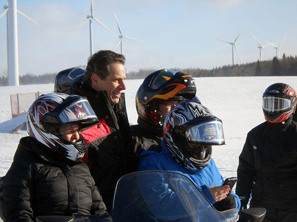 Governor Andrew Cuomo, at the Valley Snow Travelers snowmobile club groomer barn in Lowville, Lewis County.