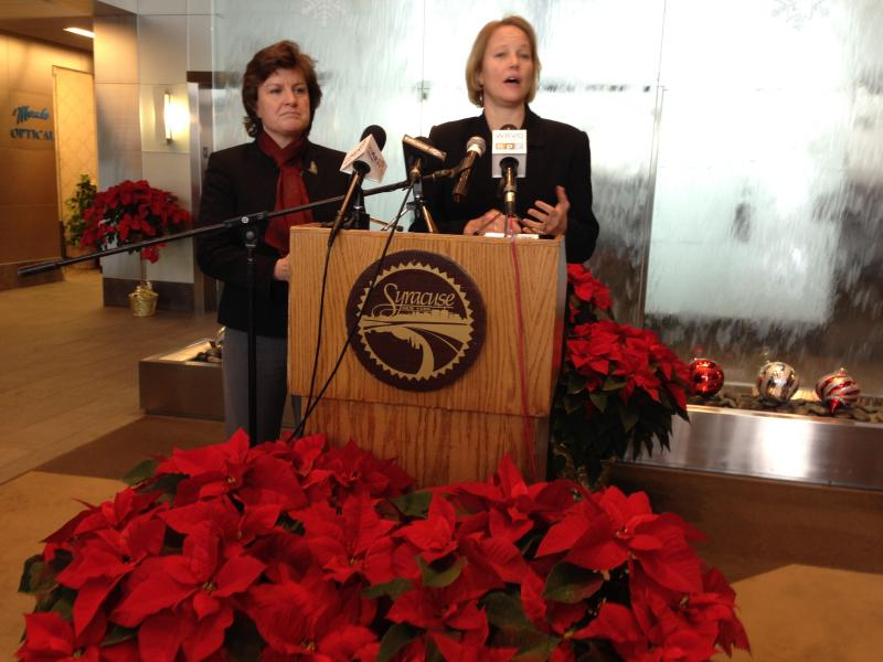 Syracuse Mayor Stephanie Miner (left) and Onondaga County Executive Joanie Mahoney discuss their plan to consolidate government in the county.