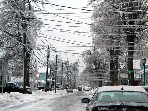 Frozen power lines were snapped by falling tree limbs.