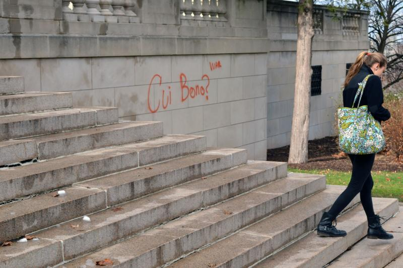 """The latin phrase for """"to whose benefit"""" with the word """"war"""" was left on the stairway to Maxwell Hall."""
