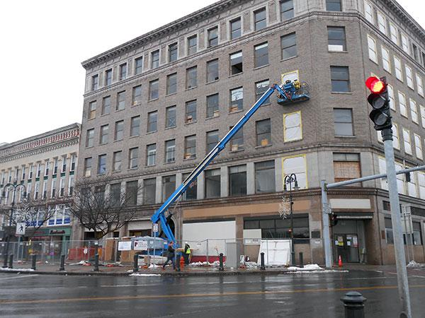 Work begins on the Woolworth building in Watertown's Public Square.
