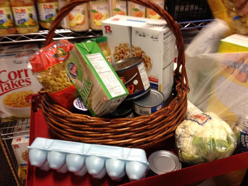 A basket of food representing the $36 cut a month that food stamp recipients received beginning in early November.