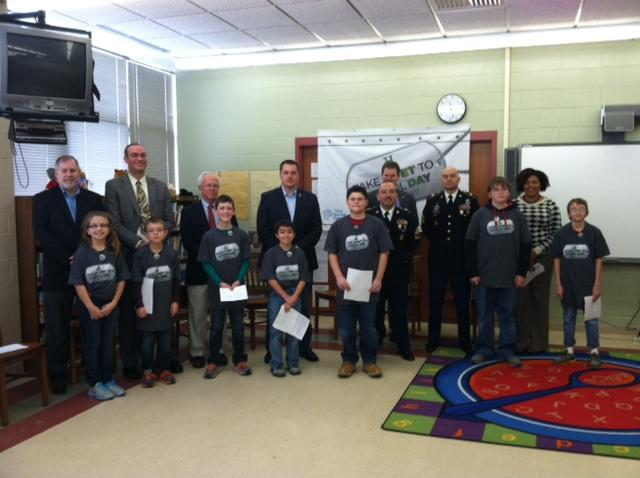 "Students and veterans meet on ""Take a Vet to School Day."""