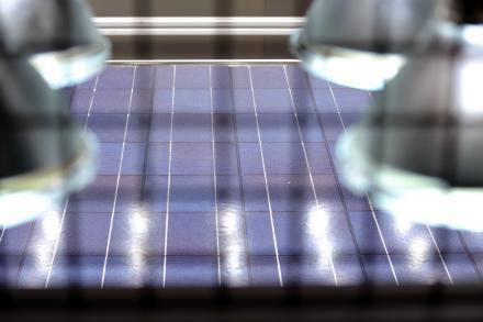 A solar panel at the CECET testing lab in Cortland, N.Y.