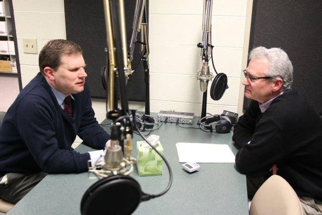 Cong. Dan Maffei, at left, speaks with Campbell Conversations host Grant Reeher