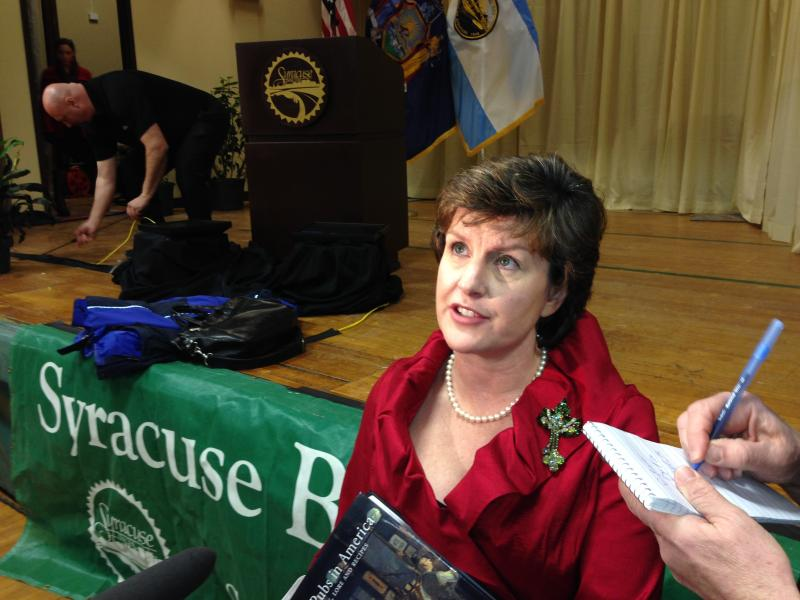 Syracuse Mayor Stephanie Miner speaks with reporters follwing her annual State of the City speech Thursday.