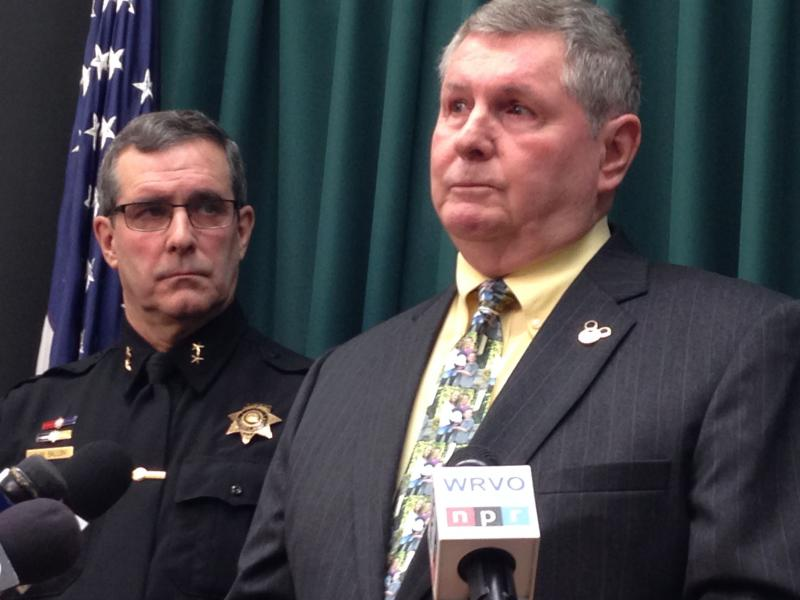 Onondaga County Sheriff Kevin Walsh (right) announced his retirement, as Deputy Chief John Balloni (left) looks on.