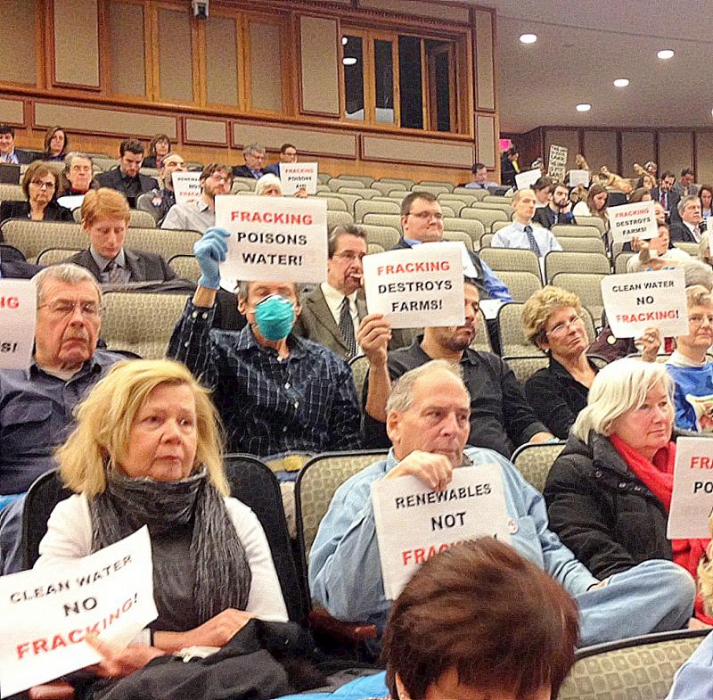 Anti-fracking protesters attend an environmental budget hearing in late January.