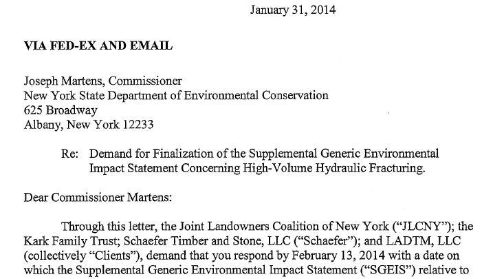 The Joint Landowners Coalition of New York has given the state until Feb. 13 to release its environmental impact study on hydrofracking.