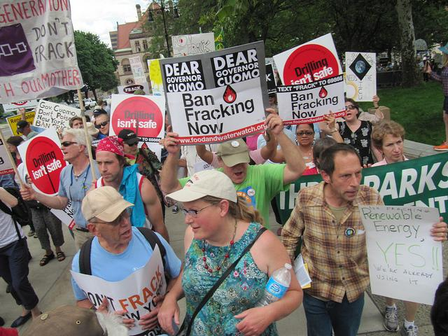 A fracking rally in Albany at the Capitol.
