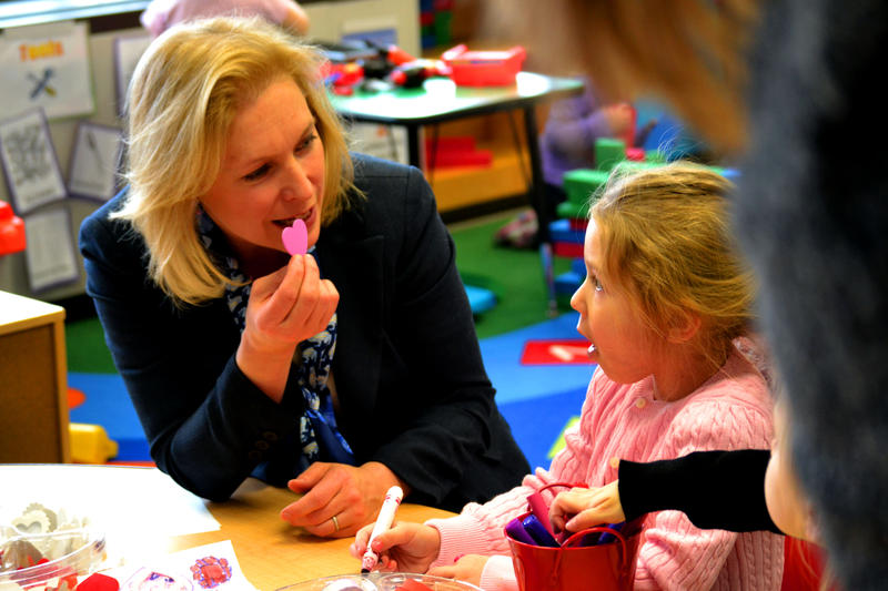 Sen. Kirsten Gillibrand (D-N.Y.) at a pre-kindergarten classroom in Herkimer County earlier this year.