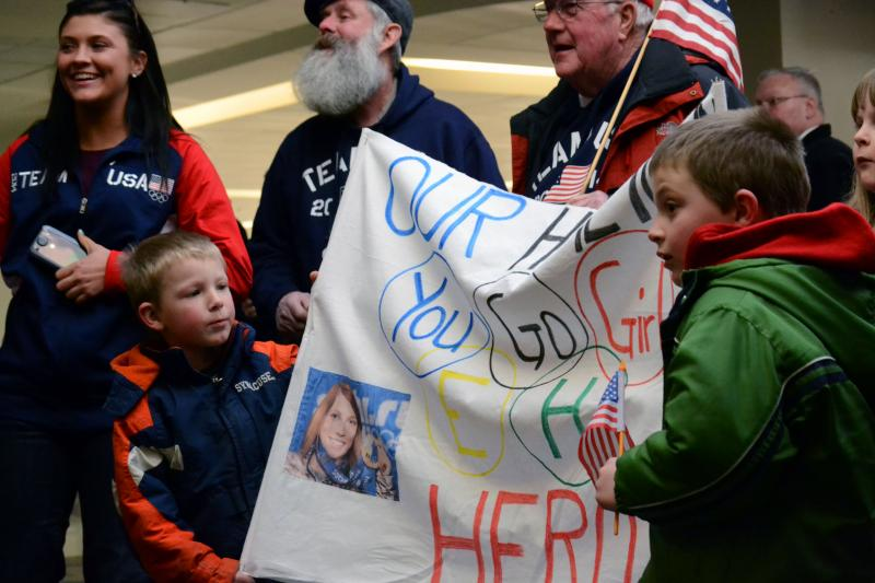 Fans await the arrival of Erin Hamlin. Hamlin, from Remsen, N.Y., won bronze in singles luge.