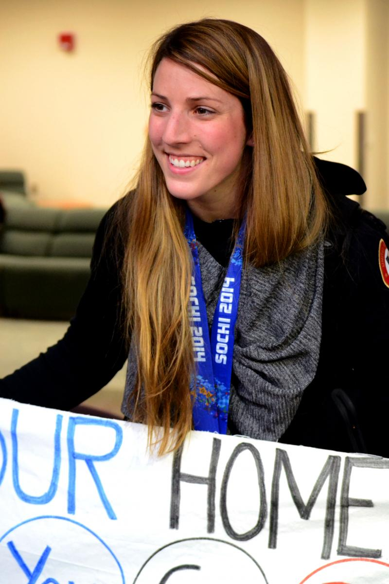 Erin Hamlin poses for a photo after arriving at the Syracuse airport. Hamlin, from Remsen, N.Y., won bronze in singles luge.