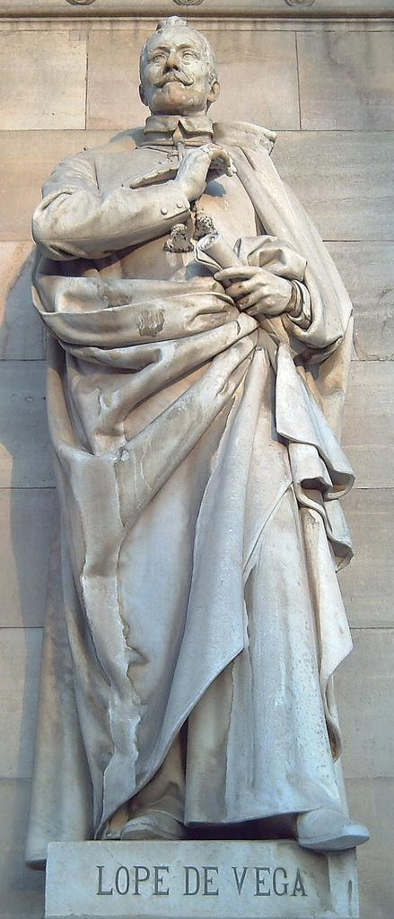 Statue of Lope de Vega at the entrance of the National Library of Spain, in Madrid.