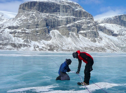 University at Buffalo geology professor Jason Briner conducting climate change research in Canada.
